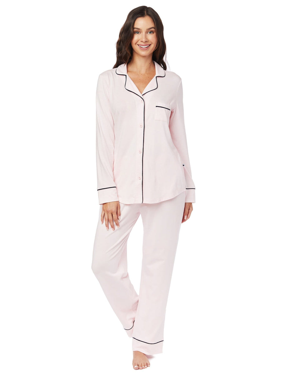 Model wearing Pink Moment Pima Knit Pajama