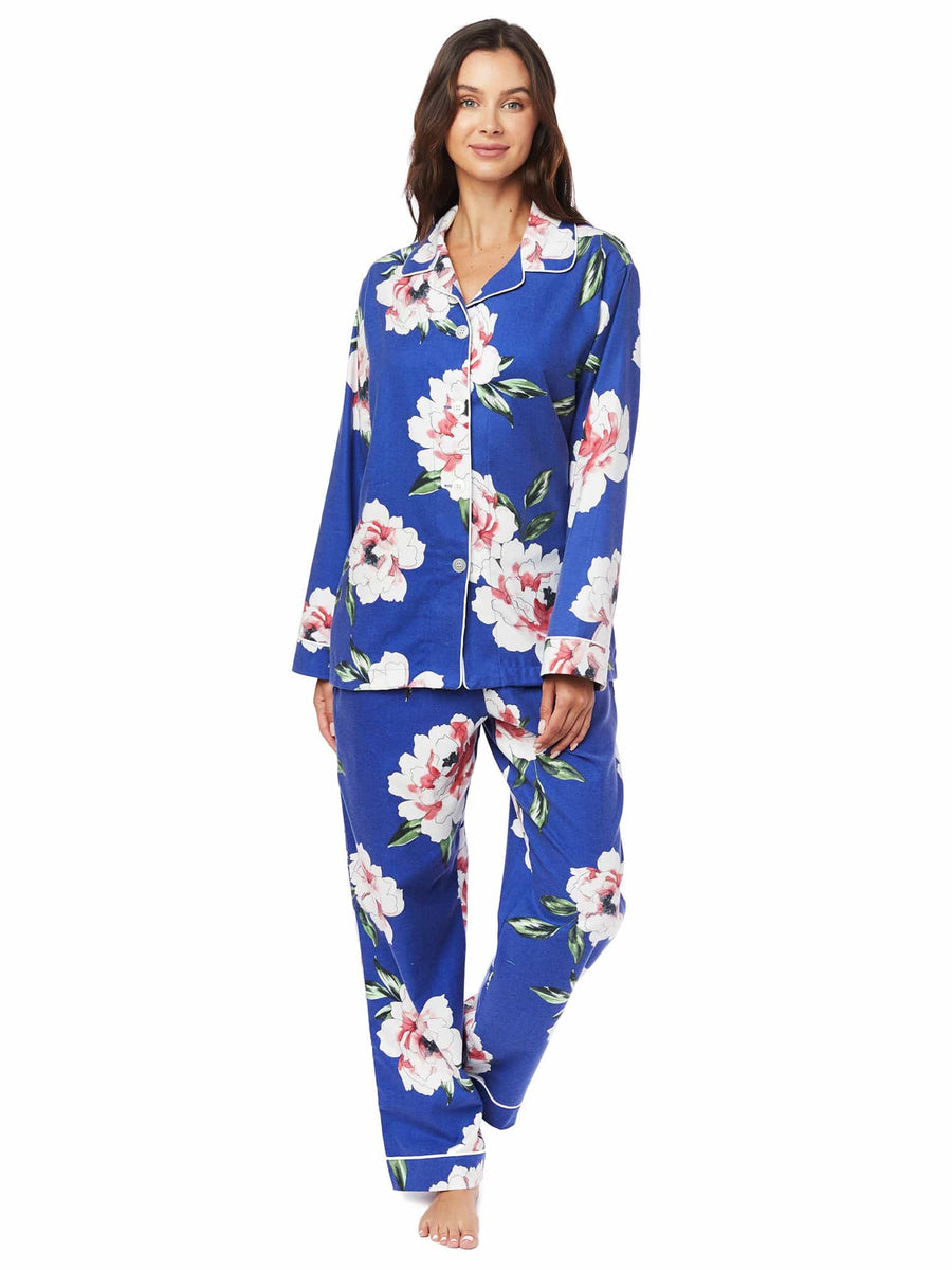 Model wearing Savannah Blue Pima Flannel Pajama