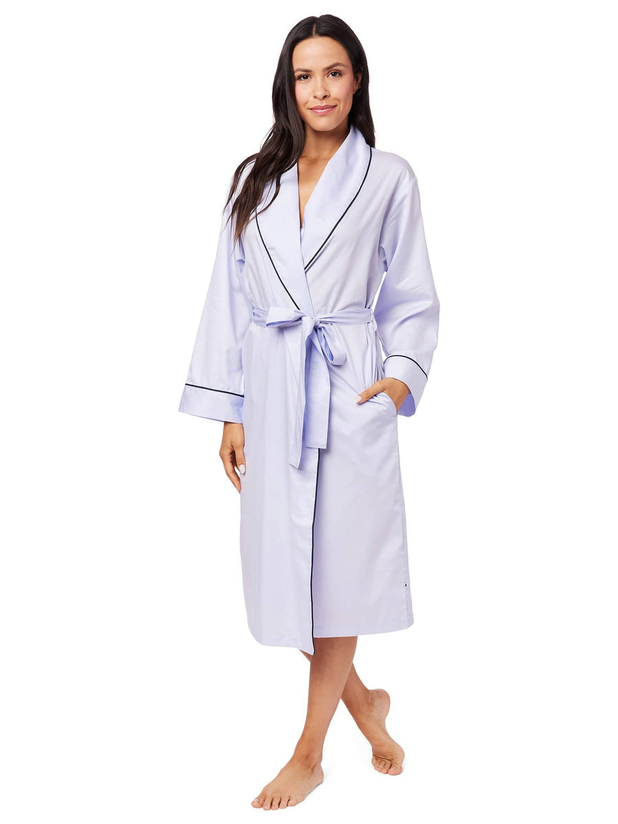 Model wearing Classic Luxe Pima Shawl Collar Robe