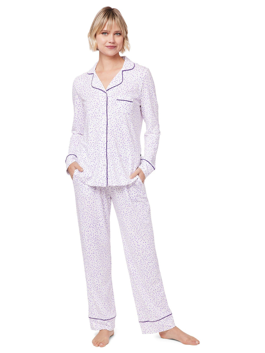 Model wearing Confetti Dot Pima Knit Pajama