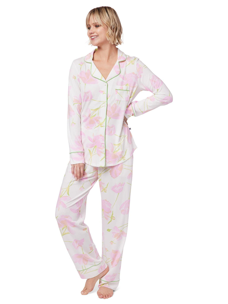 Model wearing Emma Rose Pima Knit Pajama