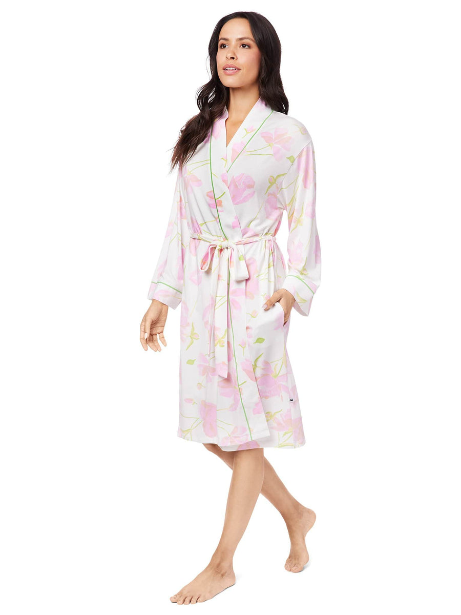 Model wearing Emma Rose Pima Knit Robe
