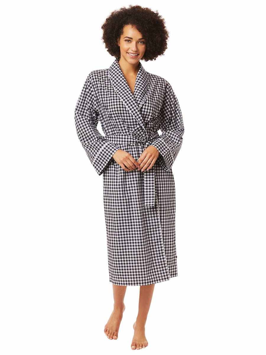 Model wearing Gingham Luxe Pima Shawl Collar Robe