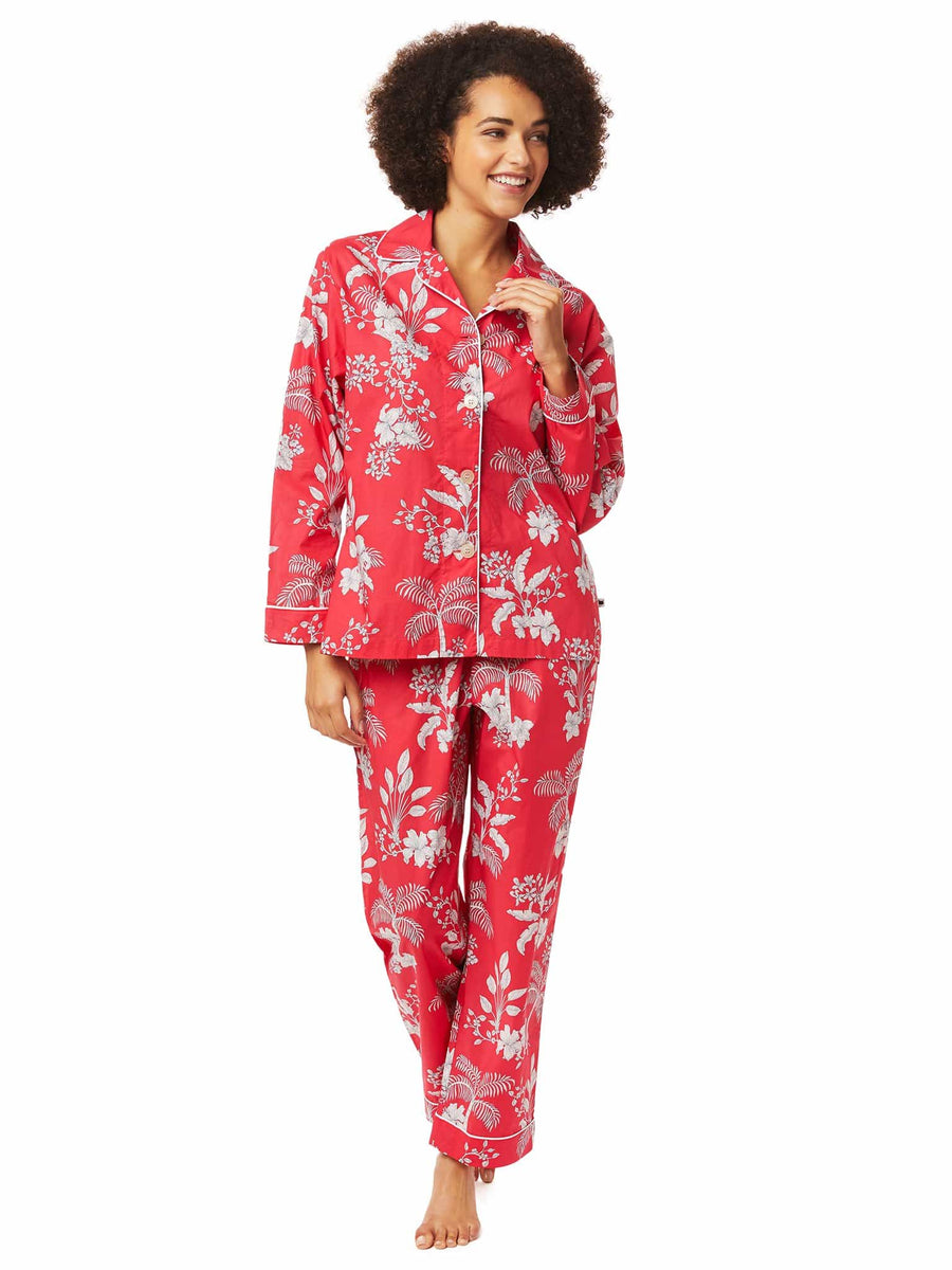Model wearing Palm Holiday Luxe Pima Pajama