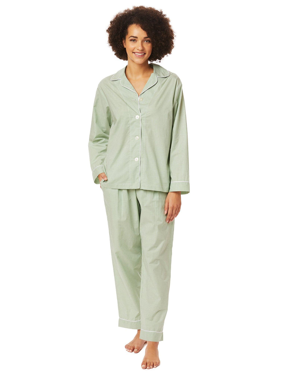 Model wearing Kelly Check Luxe Pima Pajama