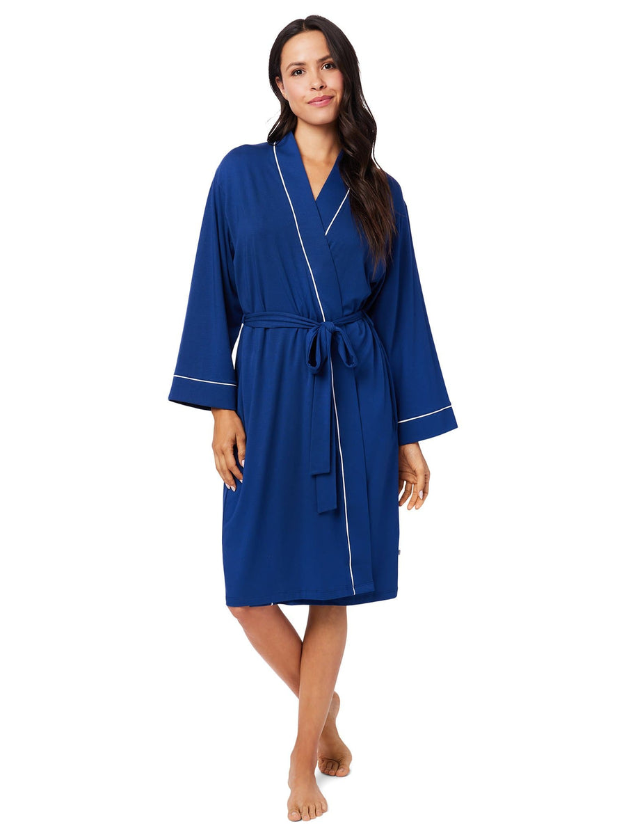 Model wearing Marine Blue Pima Knit Robe