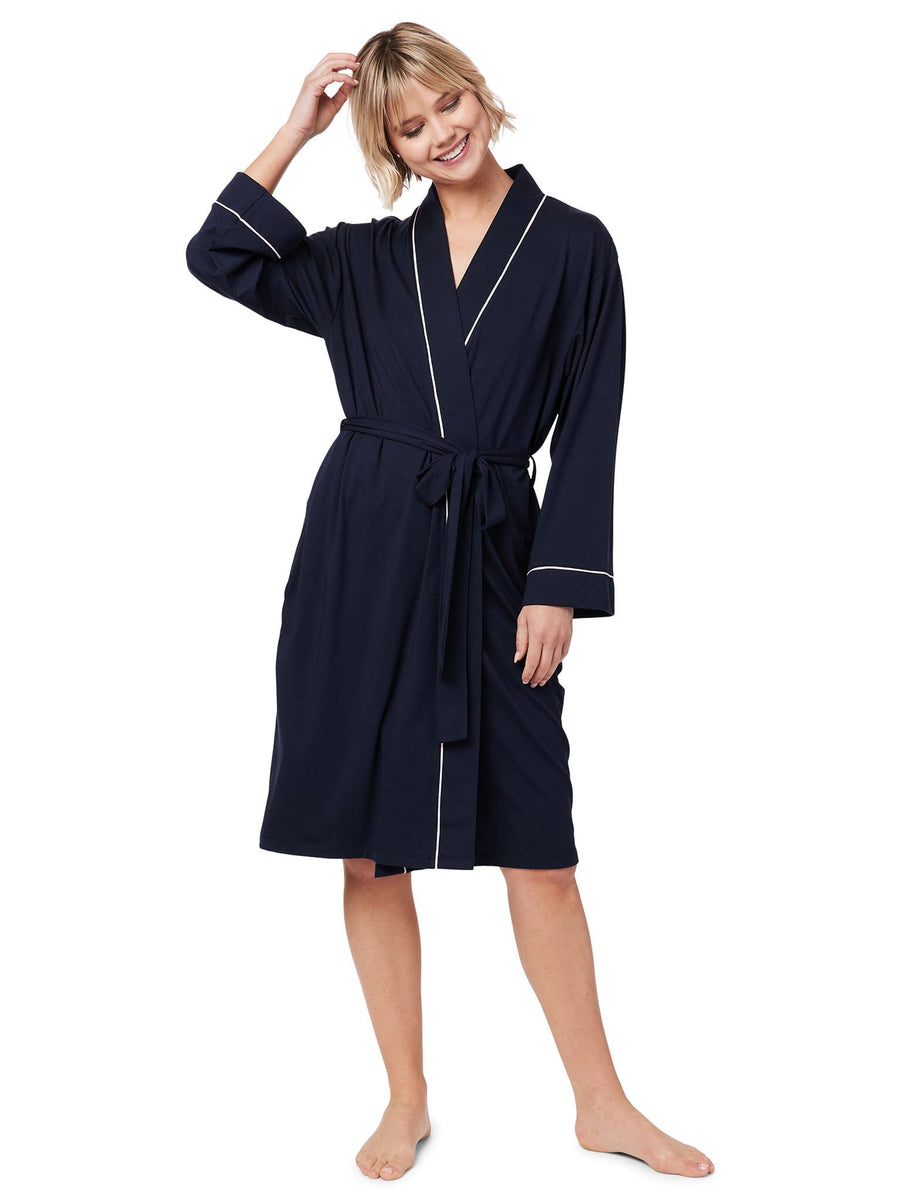 Model wearing Midnight Pima Knit Robe