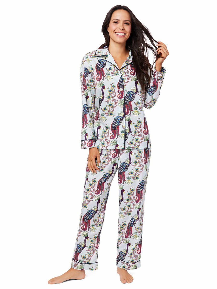 Model wearing Peacock Tropicale Luxe Pima Pajama