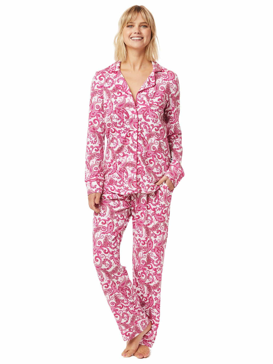 Model wearing Queen Anne Pima Knit Pajama