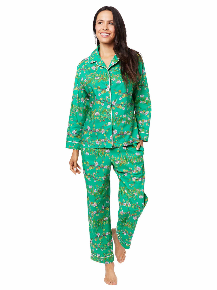 Model wearing Sakura Luxe Pima Pajama