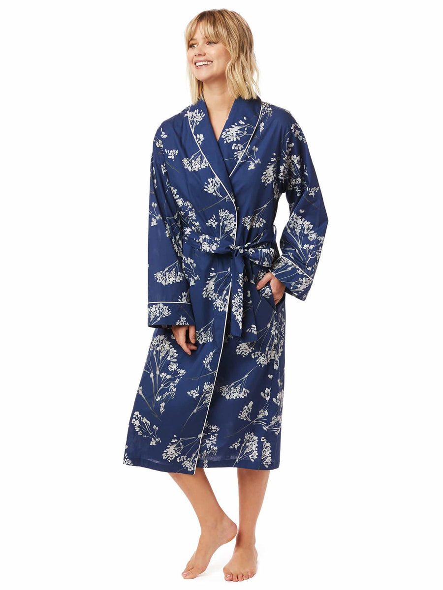 Model wearing Willow Luxe Pima Shawl Collar Robe