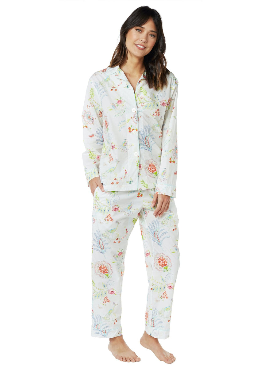 Model wearing Birds of Paradise Luxe Pima Cotton Pajama