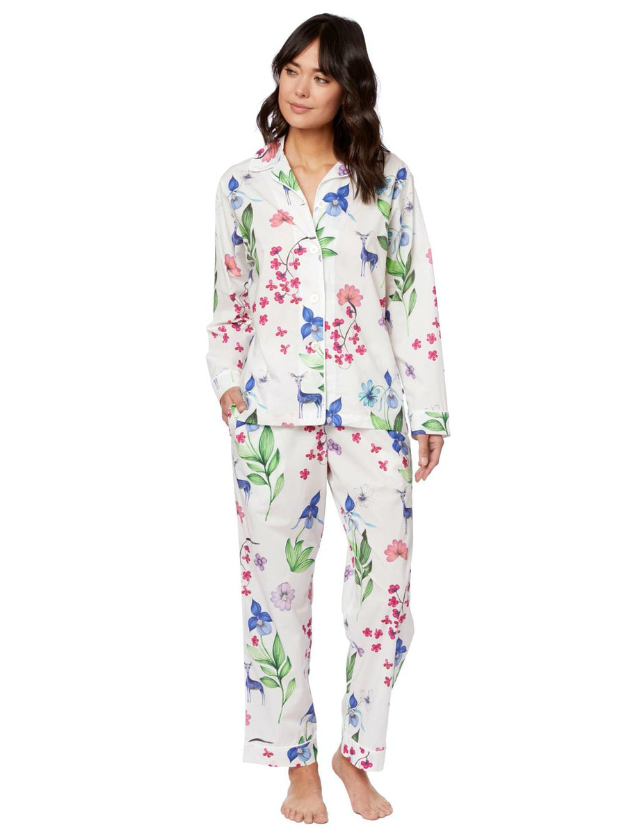 Model wearing Deerly Luxe Pima Cotton Pajama
