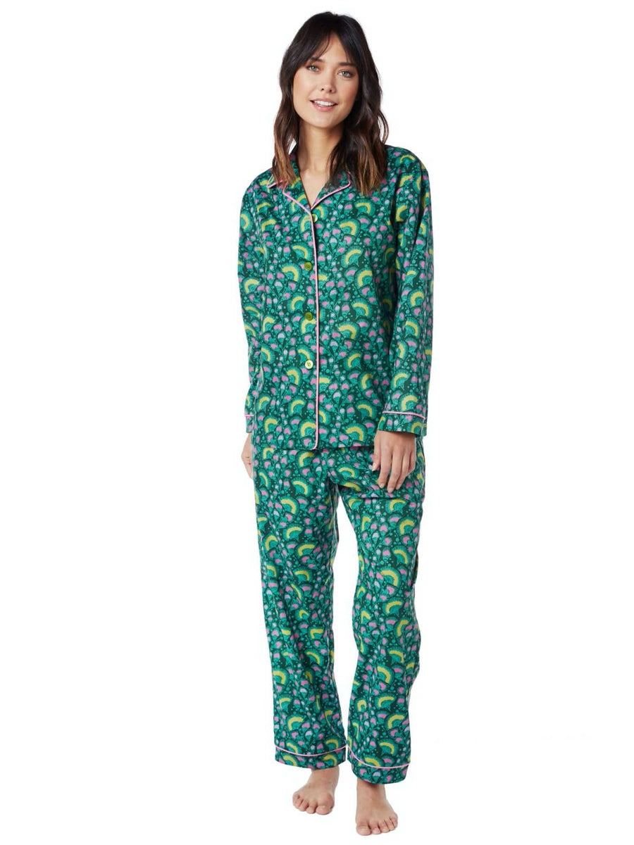 Model wearing Evergreen Voile Pajama
