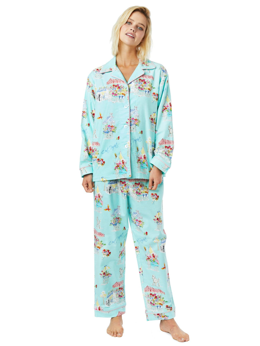 Model wearing Flower Cart Flannel Pajama