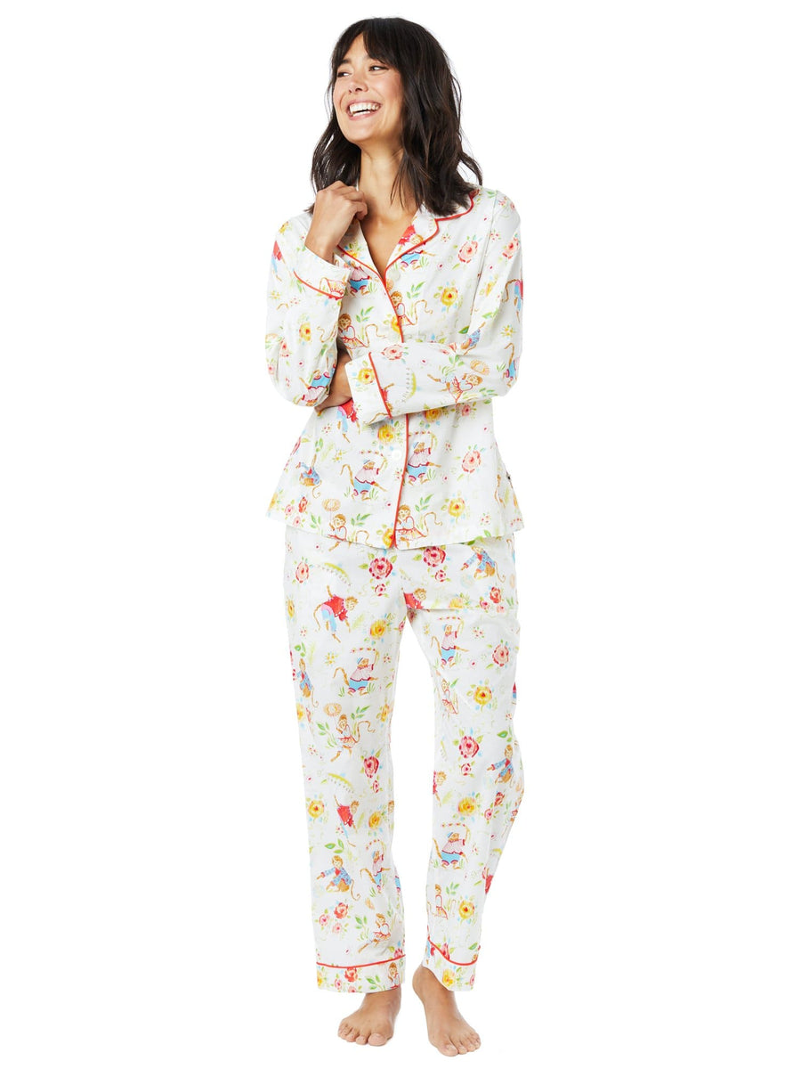 Model wearing Garden Monkey Luxe Pima Cotton Pajama