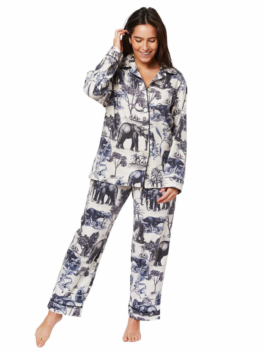 Model wearing Safari Toile Pima Flannel Pajama