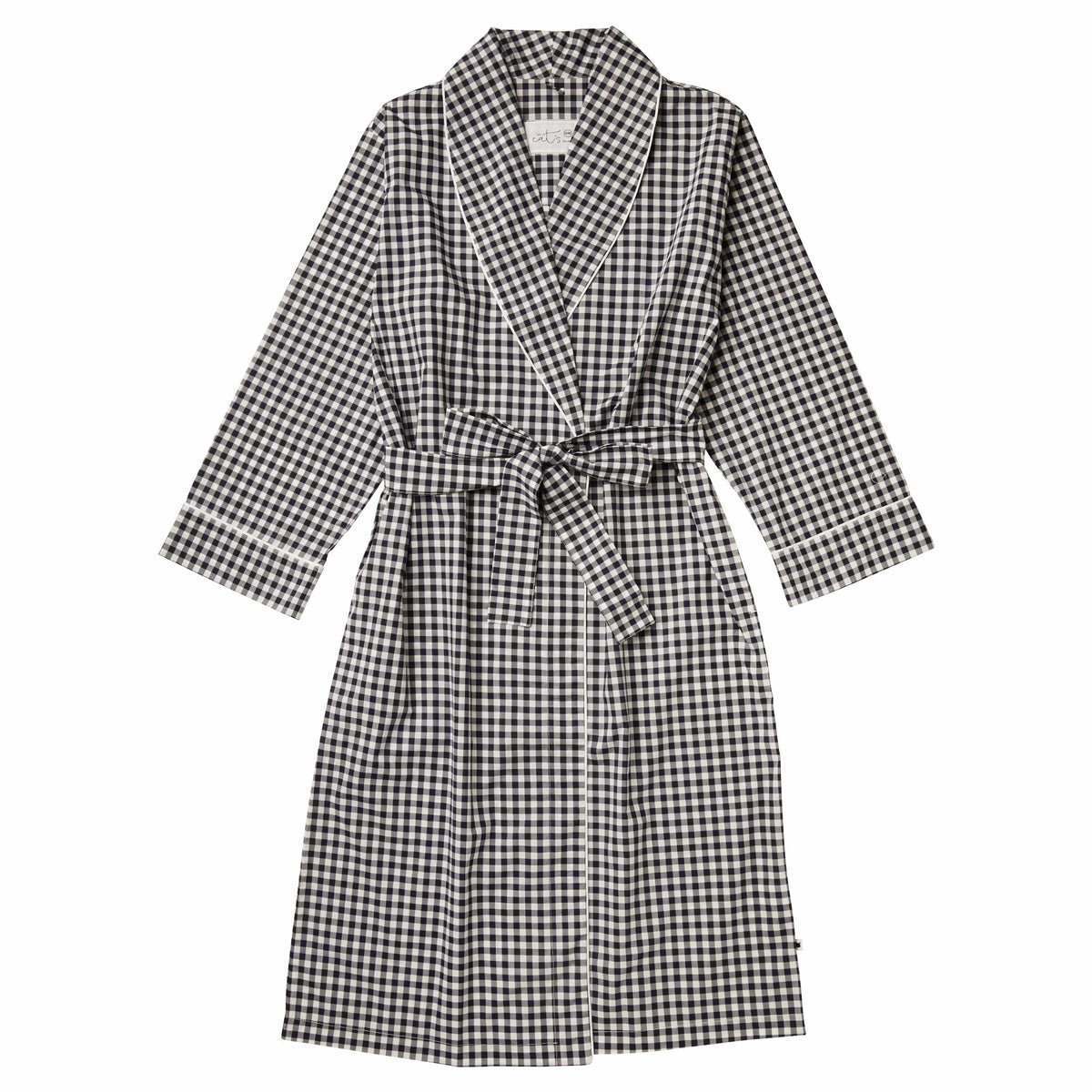 Gingham Luxe Pima Shawl Collar Robetest