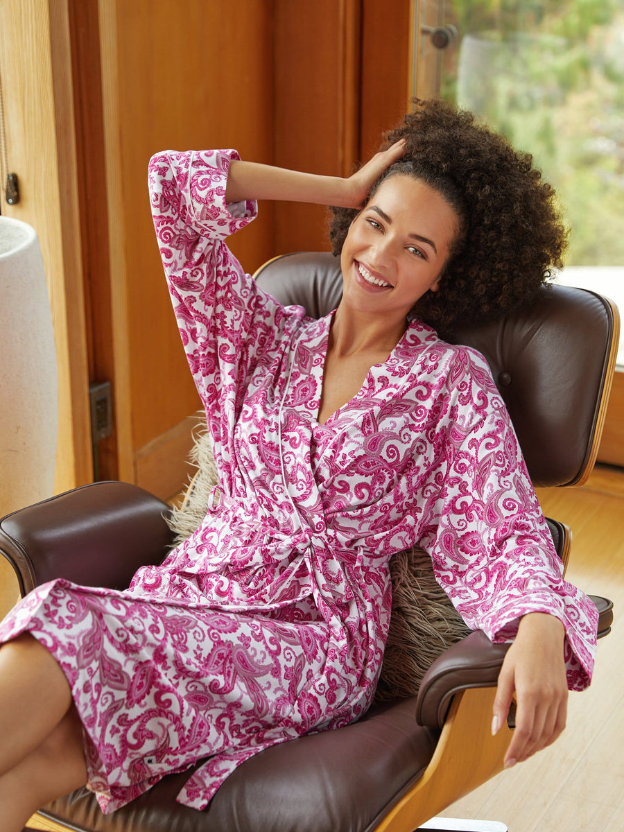 Model wearing Queen Anne Pima Knit Robe