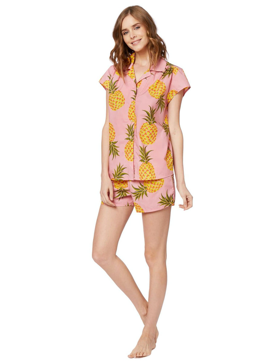 Model wearing Pink Pineapple Luxe Pima Cotton Short Set