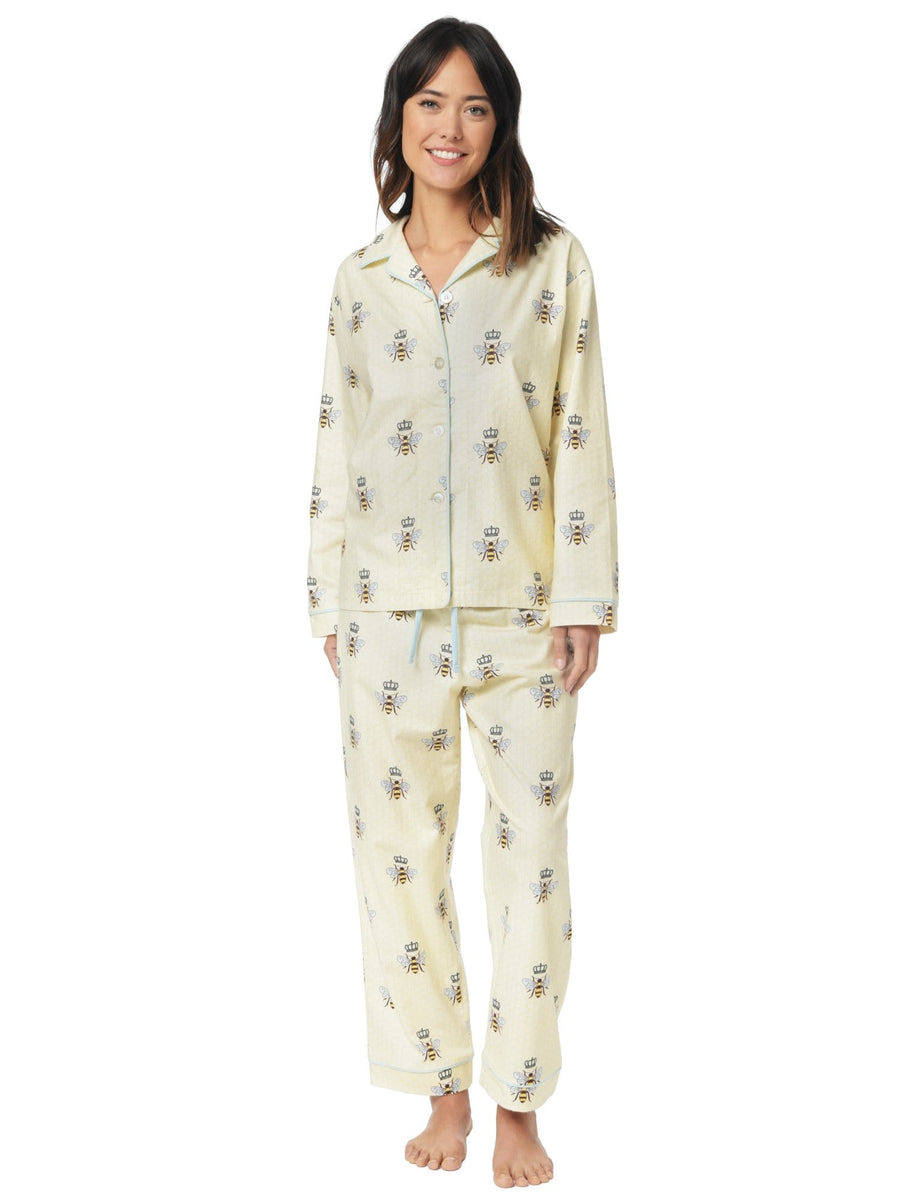 Model wearing Queen Bee Flannel Pajama
