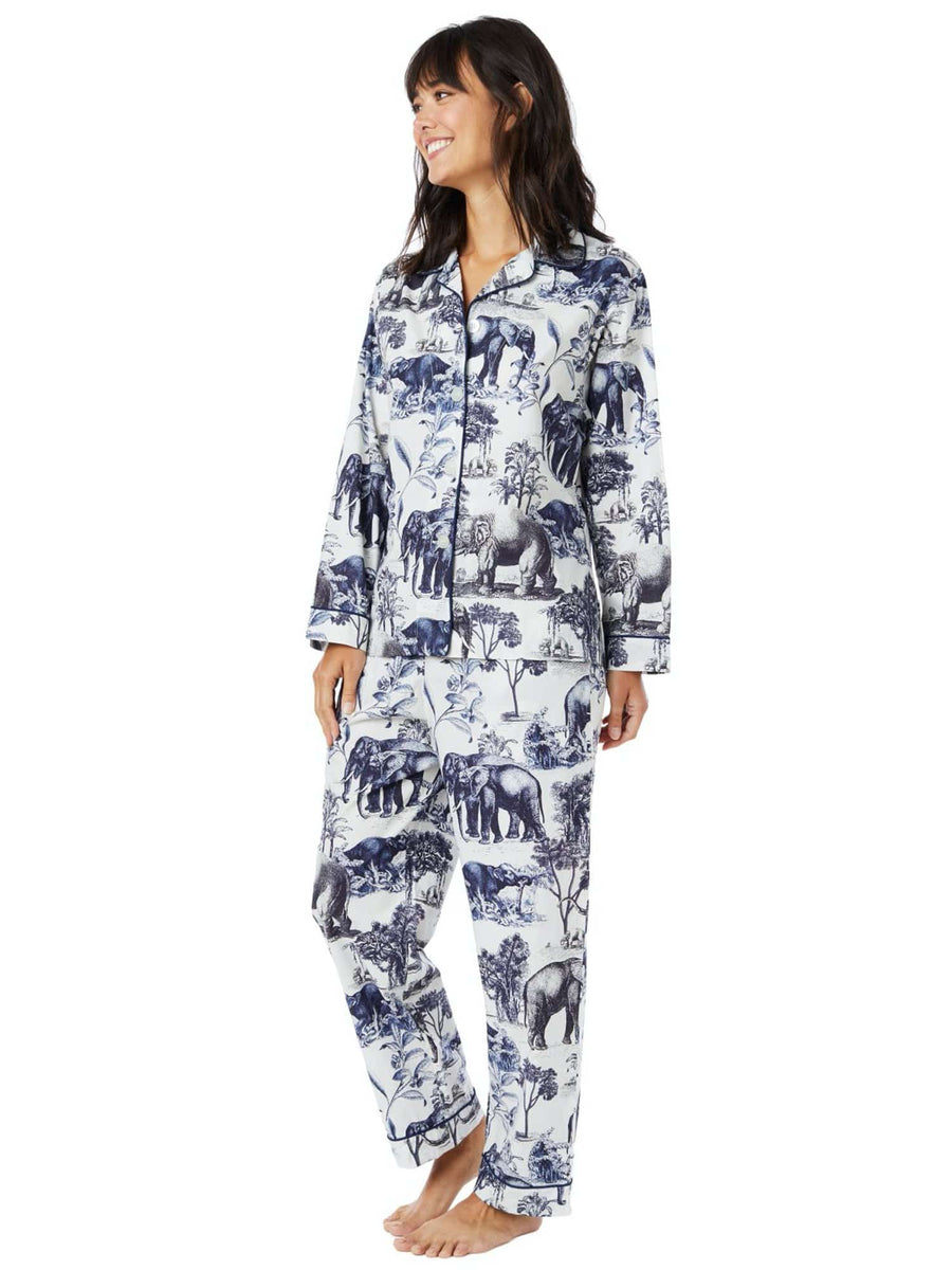 Model wearing Safari Toile Luxe Pima Cotton Pajama