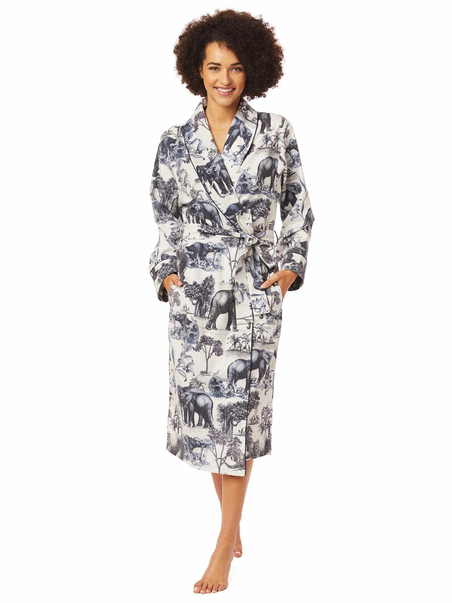 Model wearing Safari Toile Pima Flannel Robe