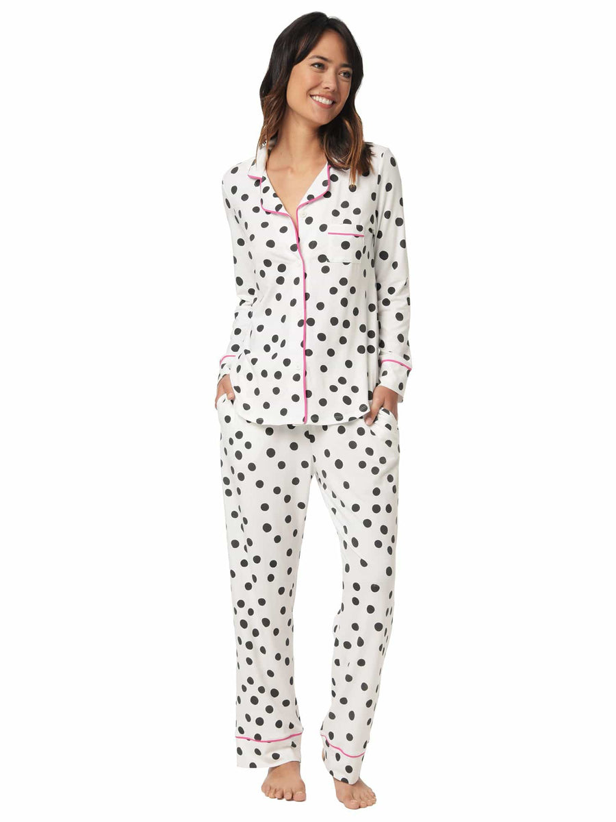 Model wearing Sprinkle Dots Long Sleeved Pima Knit Pajama
