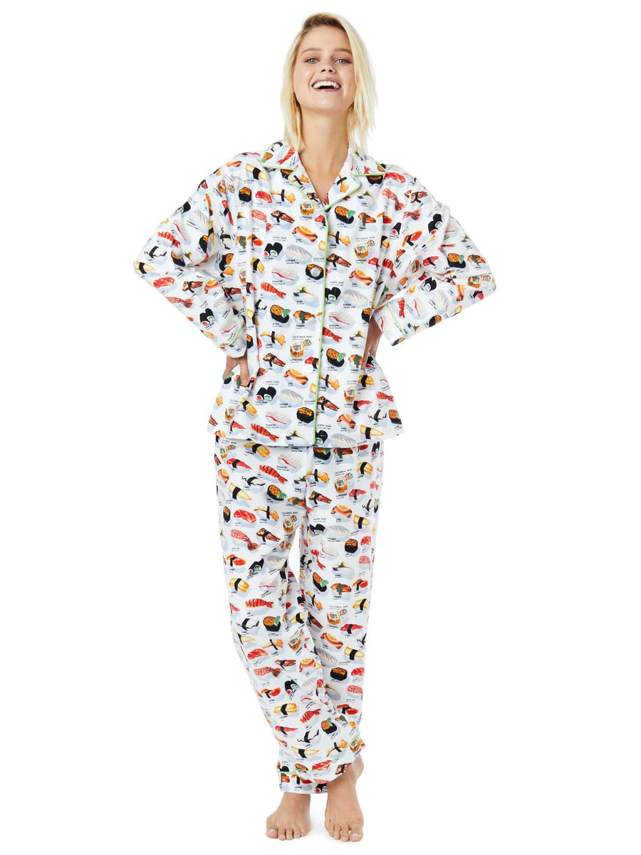 Model wearing Sushi Flannel Pajama