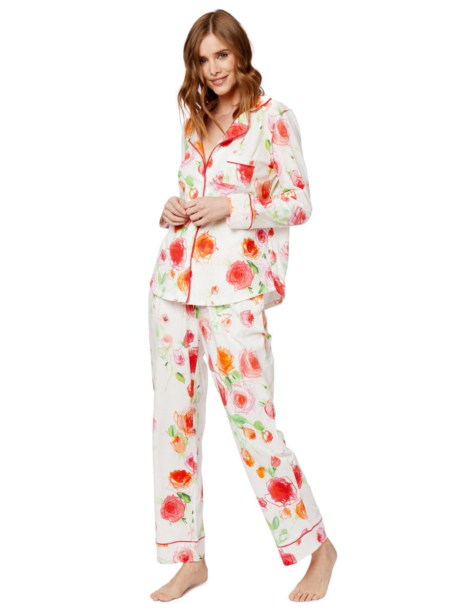 Model wearing Tossed Roses Pima Knit Long-Sleeved Pajama