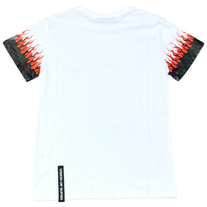 Vision of Super t-shirt bambino bianca doppie fiamme KW1DOUBLE