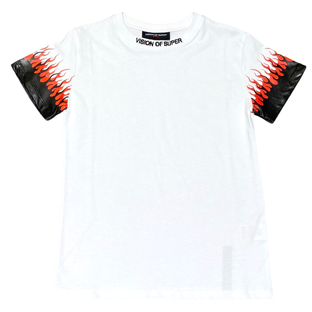 Vision of Super t-shirt bianca doppie fiamme KW1DOUBLE