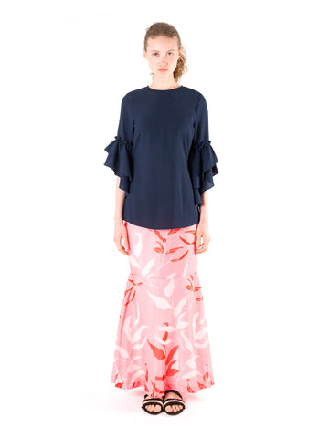 Ruffled Trumpet Sleeve Top
