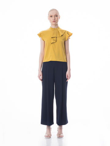 Double Pleat Wide Leg Trousers
