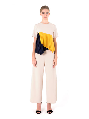 Colourblock Pleated Top
