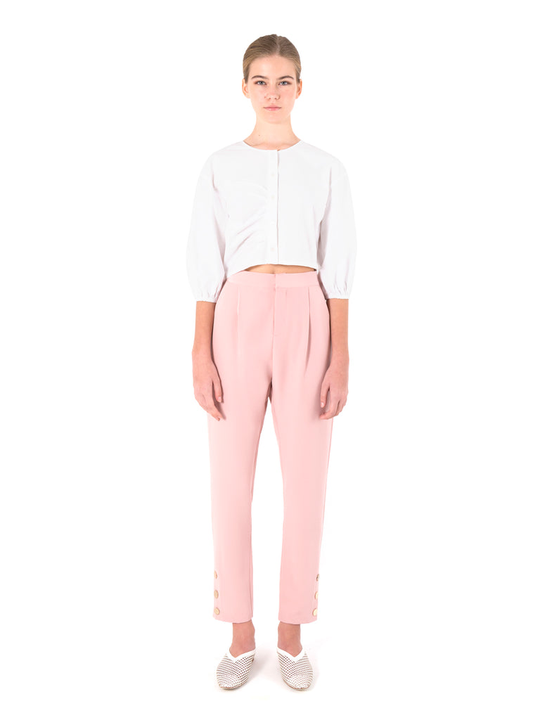 Button Cuff Tapered Trousers