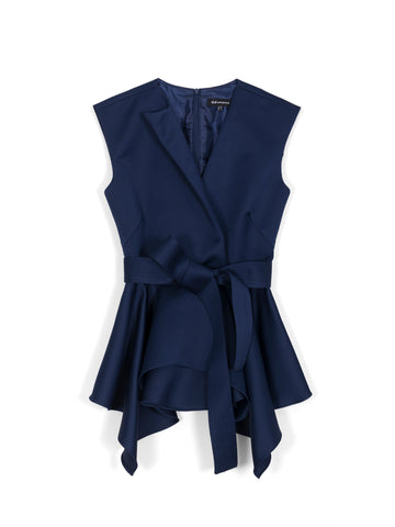 Asymmetric-Lapel Peplum Top