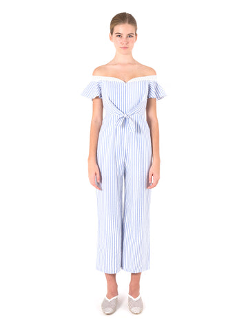 Tie Front Off Shoulder Jumpsuit