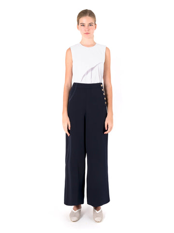 Side Button Wide Leg Trousers