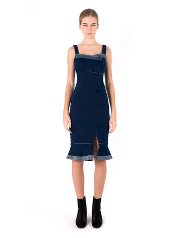 Asymmetrical Splice Midi Dress