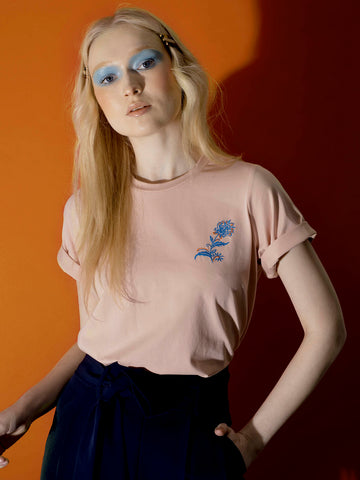 Embroidered Curved Hem Tee
