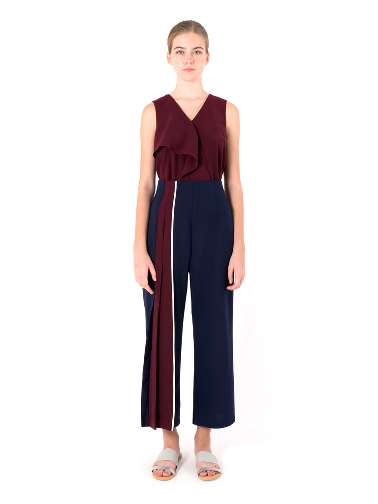Contrast Pleated Trousers