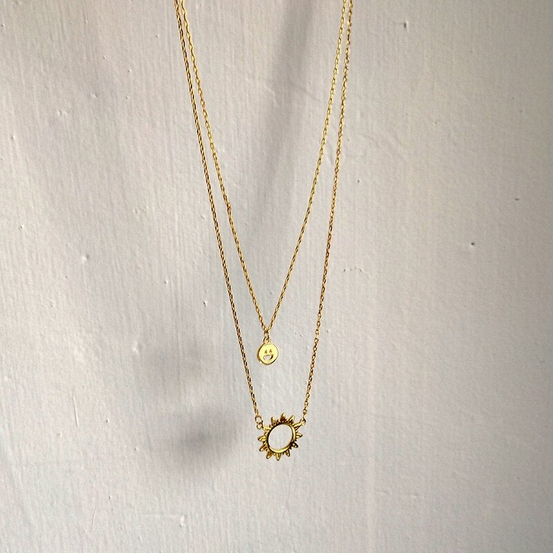 Smiley & Moon Necklace