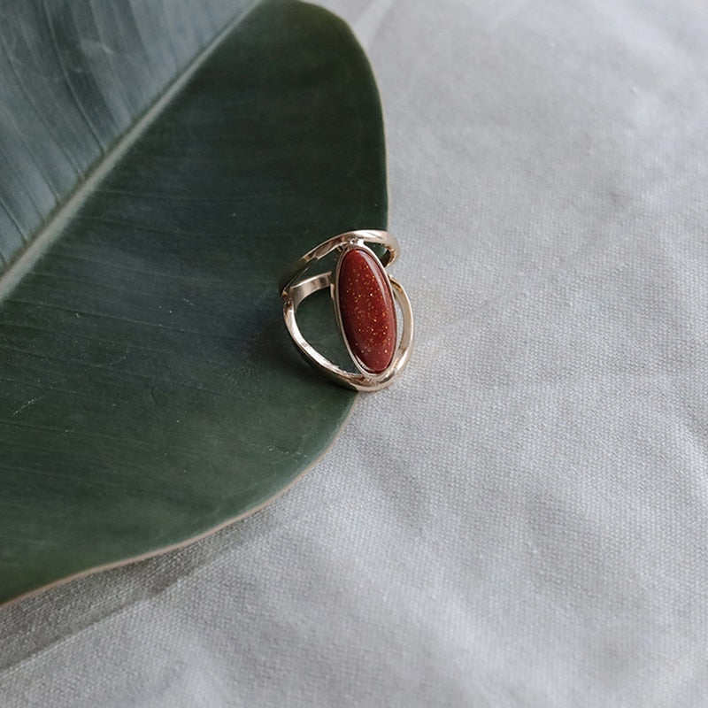 Oval Red Stone Ring