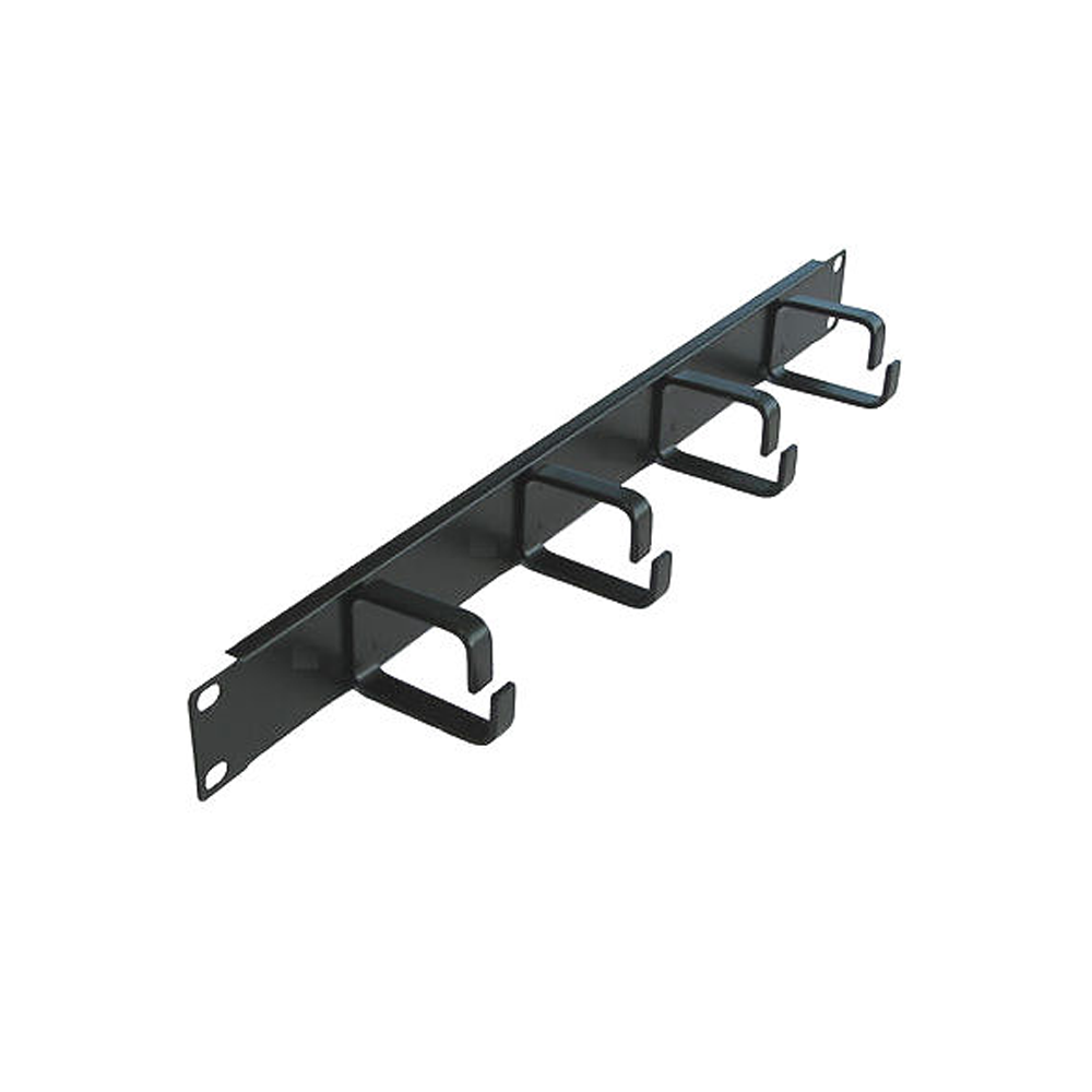 "MCAB Cable Tray Management 19"" Front 4 x Hook Panel 1U Steel - Network Warehouse"