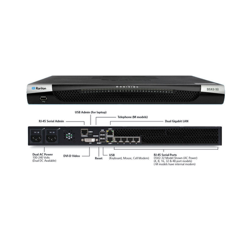 "DSX2-48M-DC Raritan 48-port serial console server with dual-power DC and dual gigabit LAN. Serial, USB and KVM local console ports. 19"" rack mount kit. Internal telephone modem - Network Warehouse"