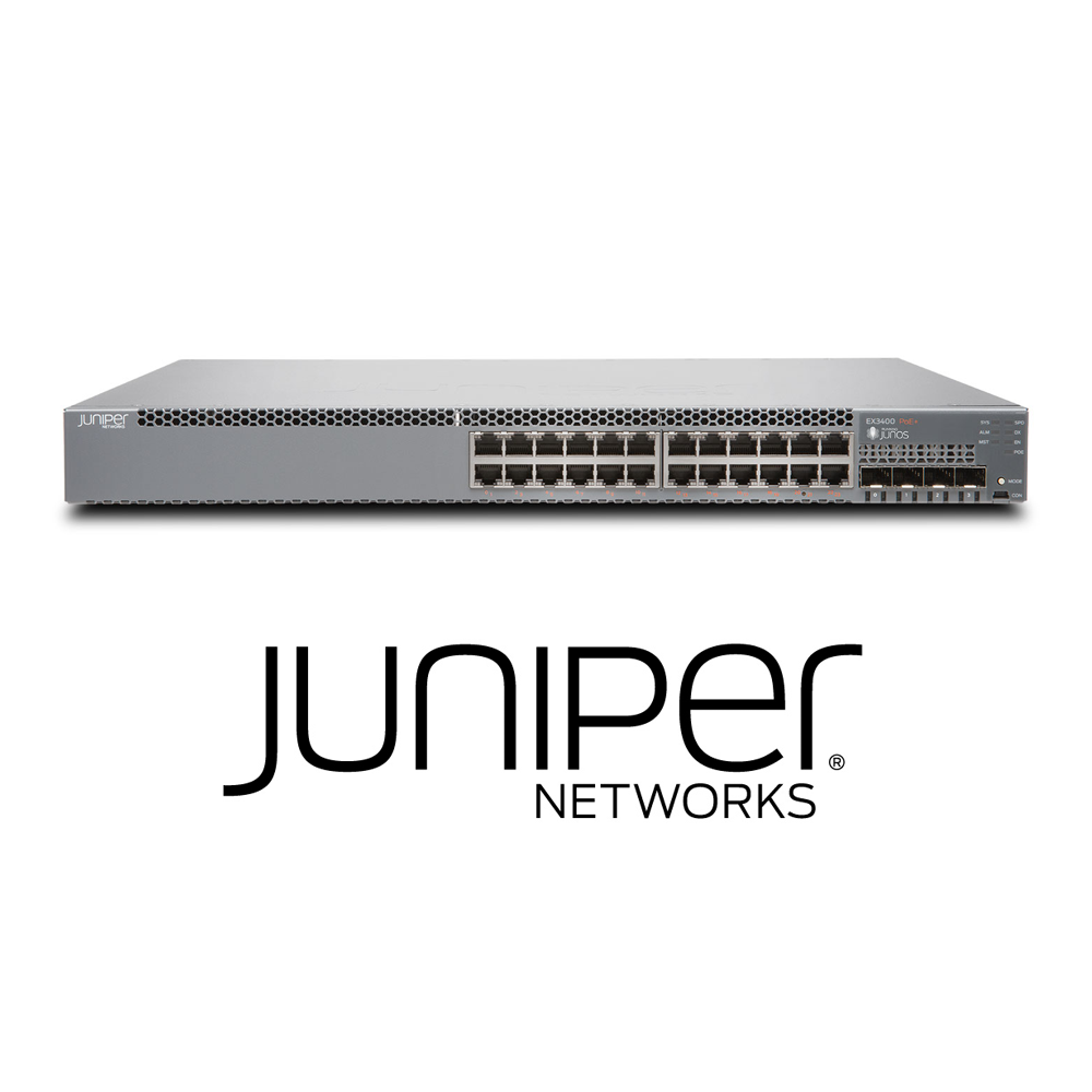 Juniper EX3400-24T Switch | 24 x 10/100/1000 BaseT | 4 x 1/10G SFP/SFP+ | 2 x 40GB QSFP+ | Redundant Fans | 1 PSU Included (Optics Sold Separately) - Network Warehouse