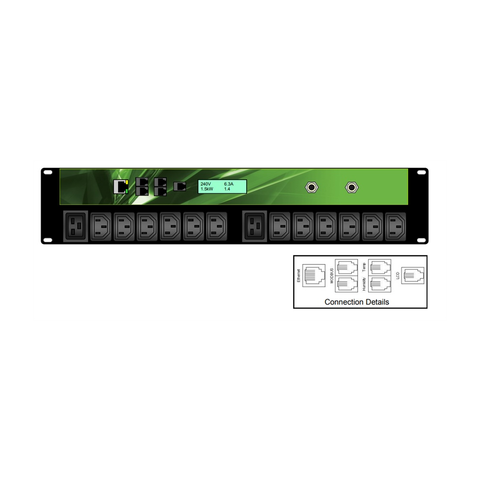 iPower - 2U 14 Outlet 12xC13 and 2xC19 32A Neutrik - 32 Amp IND 309, Horizontal PDU | IPL-002-IP1-0G-3C - Network Warehouse