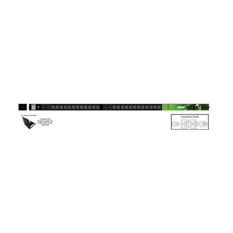 iPower - Zero U 28x Outlet: 24xC13 and 4xC19 Neutric - 32 Amp IND 309, Vertical PDU Bar level Monitoring / Thermal Trip | IPL-004-IP1-0G-3C - Network Warehouse