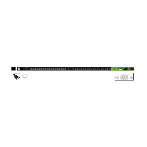 iPower - Zero U 42x Outlet: 36xC13 and 6xC19 32A Neutric - 32 Amp IND 309, Vertical PDU Bar level Monitoring / Thermal Trip | IPL-005-IP1-0G-3C - Network Warehouse